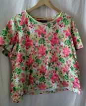 Karen Scott Sport Women's Floral Short Sleeve Shirt Green/Pink Spring - $8.41