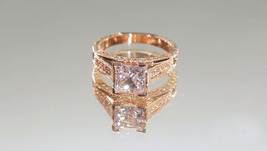 2.15Ct Classic Design Princess Moissanite Wedding Engagement Ring 14K Rose Gold  - $1,176.78