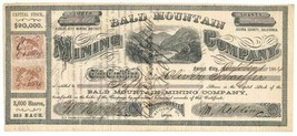 1864 R27b, R42b on Bald Mountain Mining Co. stock certificate, Forest Ci... - $439.00