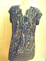 89TH & MADUSON NAVY PRINT STRETCH CAP SLEEVE TOP SZ L - $17.41