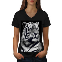 Beast Animal White Tiger Shirt King Pride Women V-Neck T-shirt - $12.99+
