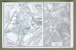 1909 MAP ORIGINAL Baedeker - ITALY Spoleto City Plan - $4.73