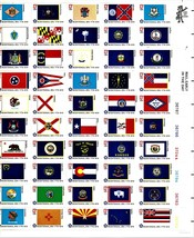 USPS Stamps -  1976 USPS Full Sheet of 50 Bicentennial State Flags 13 Ce... - $10.95