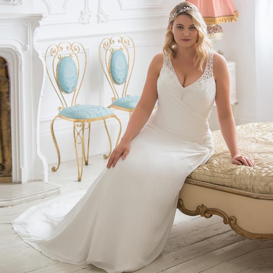 Plus size wedding dress beading v neck sleeveless ruched pleats chiffon beach wedding gowns robe