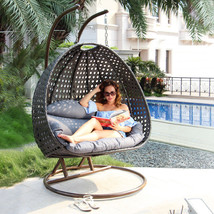 2 Person Outdoor Patio Rattan Hanging Wicker Swing Chair Egg Swing XL w/... - $949.98