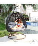 2 Person Outdoor Patio Rattan Hanging Wicker Swing Chair Egg Swing XL w/... - $854.98