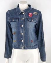 VTG 90s Baby Phat Jean Jacket Medium Blue Embroidered Patches Button Denim Retro - $23.76