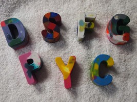 Handmade Multi-Colored Crayons Letters, Alphabet, Crayons, Names, Party Favors,  - $0.75+