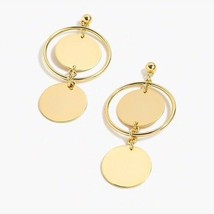 NWT J.Crew %Authentic Gold Double Disc Drop Earrings - $27.99