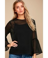 Chic Meet Me in the City Black Long Sleeve Top - S New - $34.00