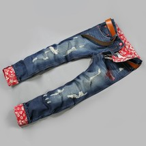 Men's pants tide Jean crimping loose multi hole flanging jeans - $48.96