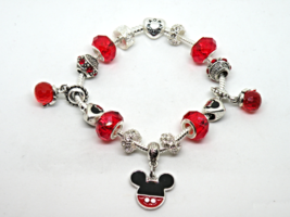 Silver & Red Mickey Mouse European Murano Beaded Bracelet. Gift bag incl... - $19.95