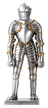 YTC 4 Inch Cold Cast Resin Silver Italian Knight Armor Figurine - $19.78