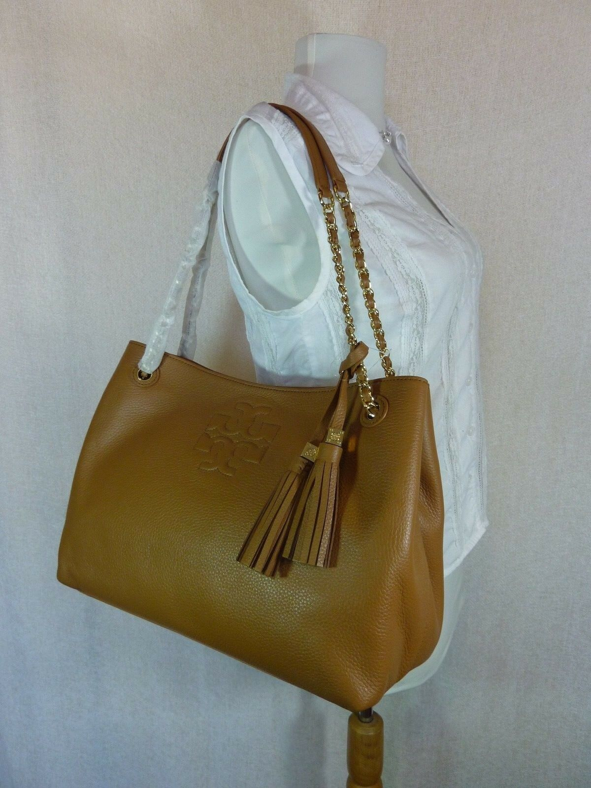 NWT Tory Burch Bark Brown Pebbled Leather Thea Chain Slouchy Tote $495 image 2