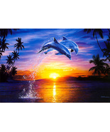 Animal illustration Art oil painting printed on canvas home decor Leap o... - $14.99+