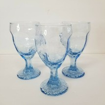 Set of 3 Libbey Chivalry Textured Blue Hexagonal Goblets Footed - $18.37