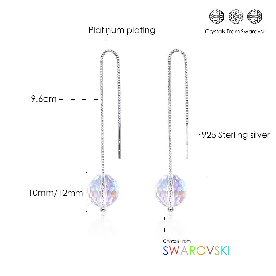 Primary image for Crystals From Swarovski Ball Beads Drop Earrings For Women Silver Chain Piercing
