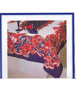 Vintage Patriotic Passion 4th july tablecloth unused 60X102 rectangle - $105.00