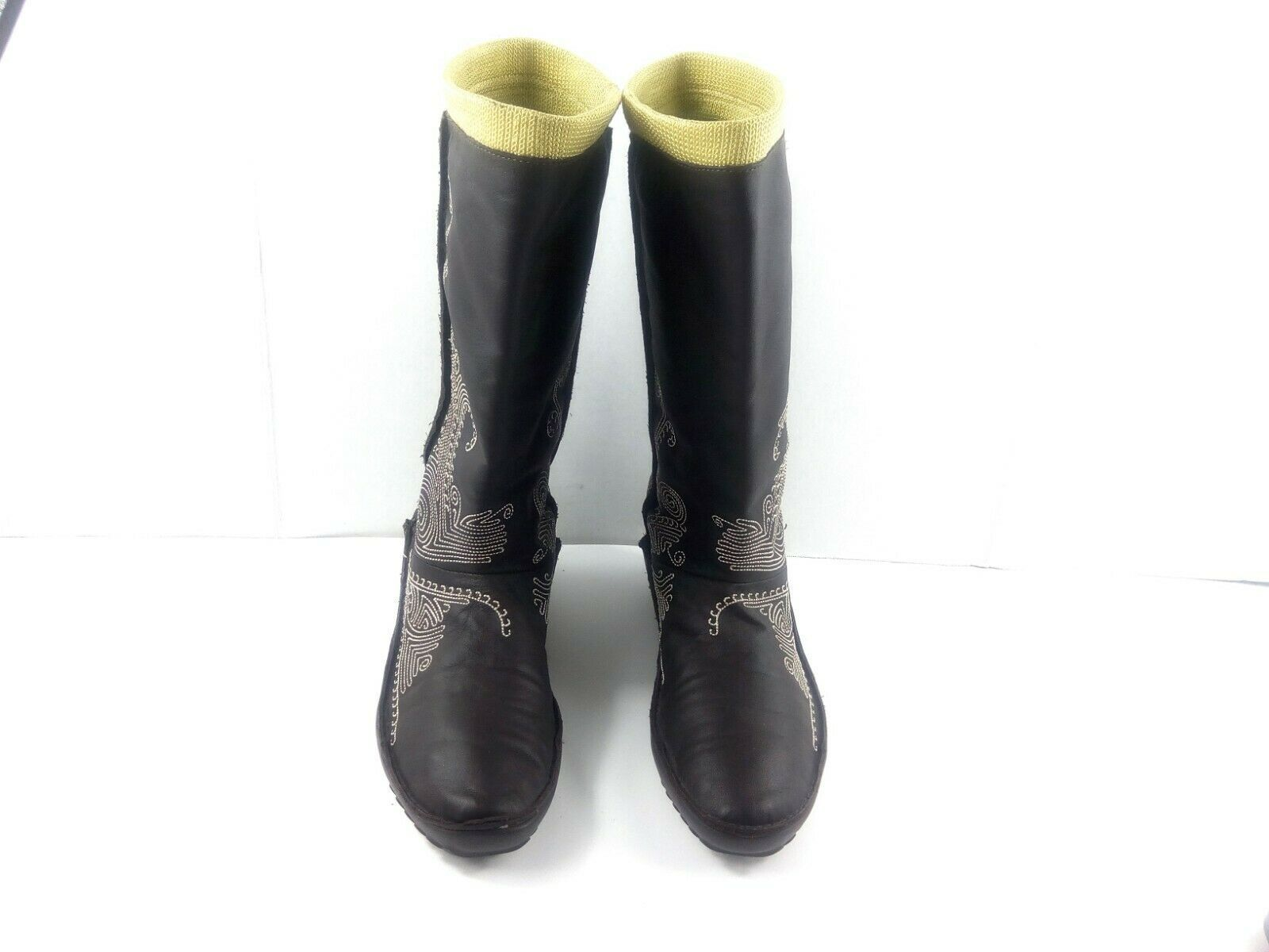 Puma Women's Boots Monsoon Tall Leather Embroidered Brown/Green Booties 7.5 W image 3