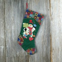 Snowman Christmas Stocking Prima Creations Rustic Quilt Country Merry Ch... - $24.74