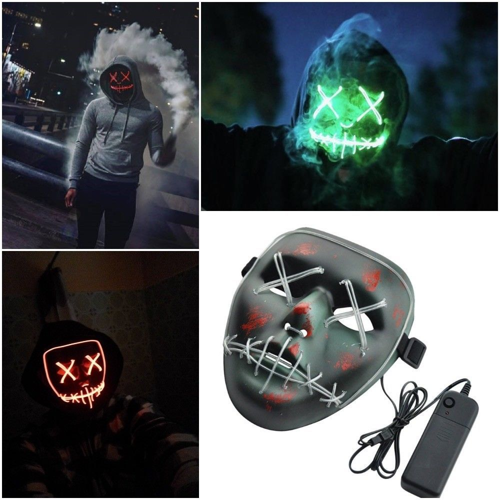 Mask Halloween Face Led Light Costume Funny Purge Election Year Festival Cosplay