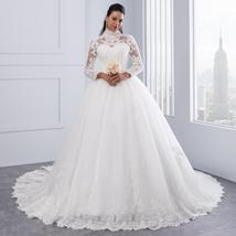 High Victorian Lace Neckline Illusion Back Long Sleeve Luxury Lace Ball Wedding  image 7