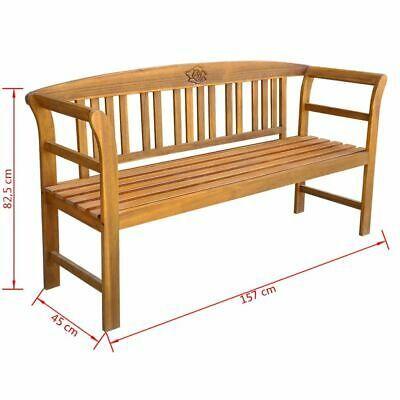 vidaXL Acacia Wooden Rose Garden Bench Outdoor Patio Deck Porch Chair Seat image 5