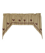 primitive country farmhouse tan & Red Rooster chicken SWAG window curtains  - $46.95