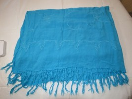 "Unbranded wrap beach cover up turquoise blue embroidered 44"" X 59"" EUC - $29.69"