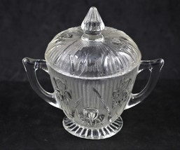 Iris and Herringbone, Sugar Dish with Cover, made by Jeannette Glass - $12.00