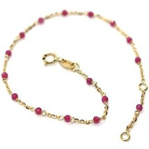 18K YELLOW GOLD BRACELET, RED FACETED CUBIC ZIRCONIA, ROLO CHAIN, 6.9 INCHES image 1