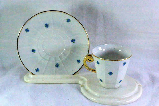Primary image for Paneled Body Blue Floral Demitasse Cup And Saucer Set