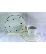 Paneled Body Blue Floral Demitasse Cup And Saucer Set - $8.99