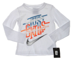 Nike Little Boys' Just Skills T-Shirt, 86A391, White, Size 4 - $11.87