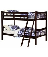 Espresso Brown Finish Wooden Twin Over Twin Bunk Beds Kids Convertible F... - $251.36