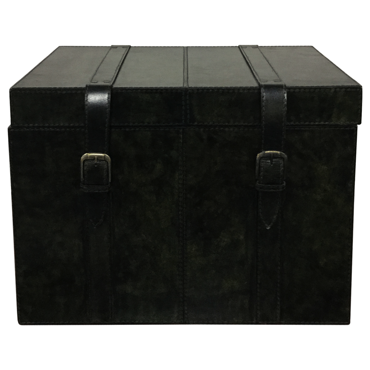Leather Black Storage Trunk Box For Living Room Trunks Chests