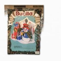 Bucilla Snowman Card Holder Plastic Canvas Needlepoint Kit Christmas Bluebird 3D - $24.74