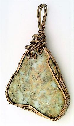 Blue Lawsonite Bronze Copper Wire Wrap Pendant 18