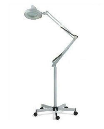 New 10x Magnifying Floor Lamp Light Standing Drafting Rolling White Pedestal