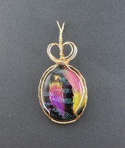 DICHROIC FUSED GLASS PENDANT MULTI COLOR GOLD  - $49.50