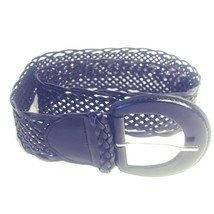 "New York & Co Womens Open Weave Leather Belt 42"" Black Large 2"" Wide D-B... - $13.13"