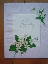 Vintage In Sympathy Embossed Dogwood The American Greeting Card  - $3.99