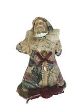 Vtg tapestry Santa Ornament St Nicholas Fur floral fabric old world plush - $15.83
