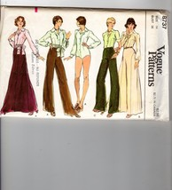 Vogue Patterns 8737 1pc Bodysuit Curved Seam Maxi Skirt Pants Tie-Belt 14 - $14.36