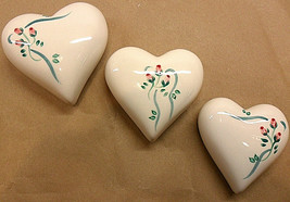3 pc set CERAMIC PINK ROSES ON WHITE PUFFY HEARTS WALL DECOR BY LASTING ... - $6.79