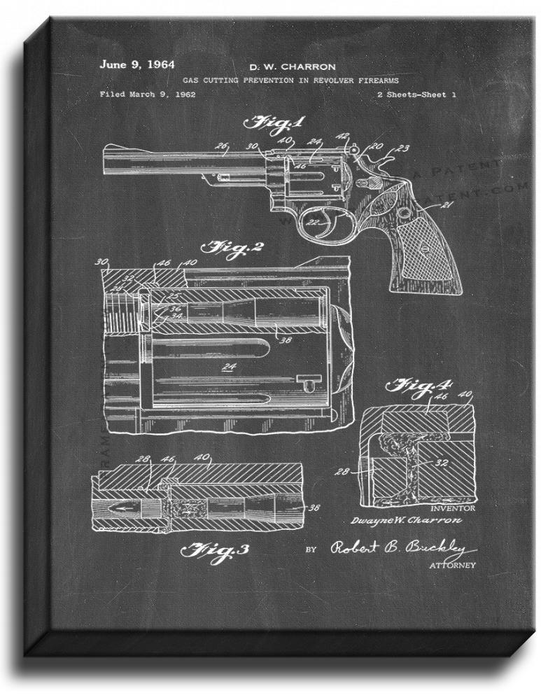 Primary image for Gas Cutting Prevention In Revolver Firearms Patent Print Chalkboard on Canvas