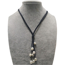 17 inches Four Rows Natural Rice Freshwater Pearl Handmade Leather Neckl... - $7.90
