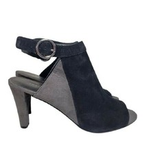 Franco Sarto Chanelle Two Tone Gray Suede Peep Toe Ankle Strap High Heel... - $24.88