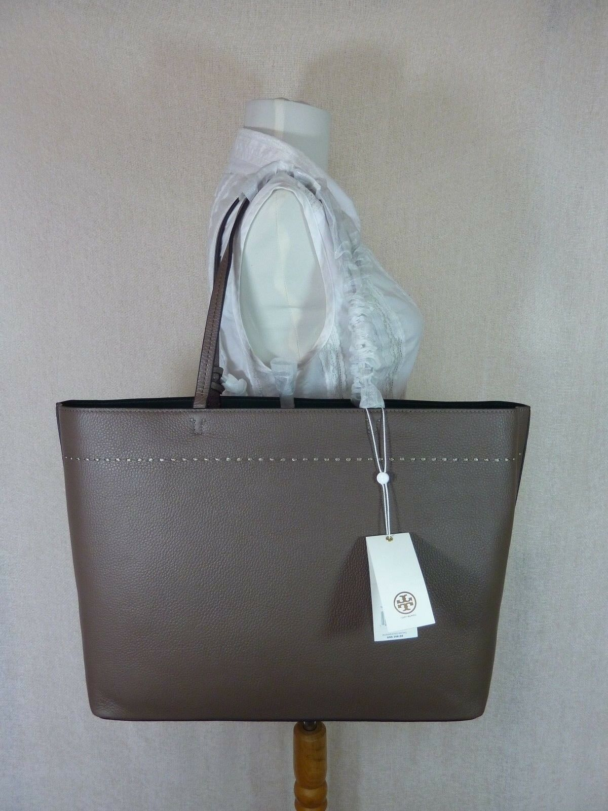 NWT Tory Burch Silver Maple/Malachite Leather McGraw Tote Bag $398 image 4