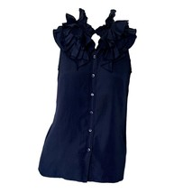 J.Crew Navy Blue Silk Ruffle Collar Sleeveless Button-Down Top Blouse Sz 0 - $18.81